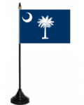 South Carolina Desk / Table Flag with plastic stand and base.